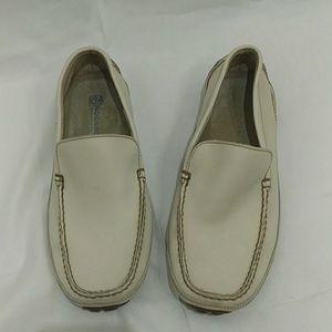 Rockport Ivory Leather Moc Toe Slide On Loafer
